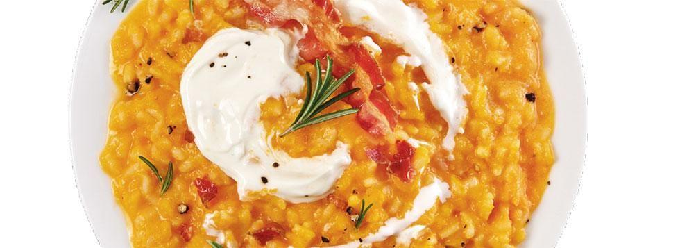 Risotto alla zucca con mascarpone, rosmarino e pancetta