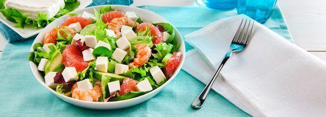 Insalata di Formaggio Zero Grassi, gamberi, avocado e pompelmo rosa
