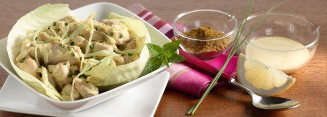 Insalata di pollo con salsa di mascarpone al curry
