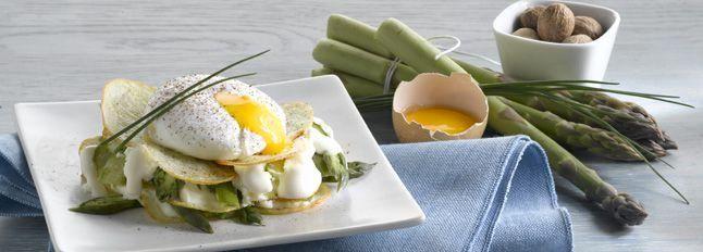 Millefoglie di patate, Certosa e asparagi con uovo in camicia
