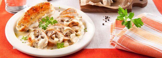 Petti di pollo ripieni di Fette alla Mozzarella e funghi