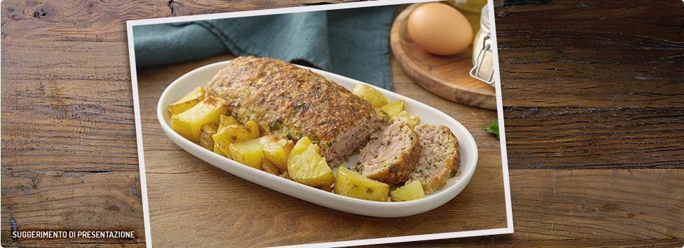 Polpettone ripieno con patate al forno