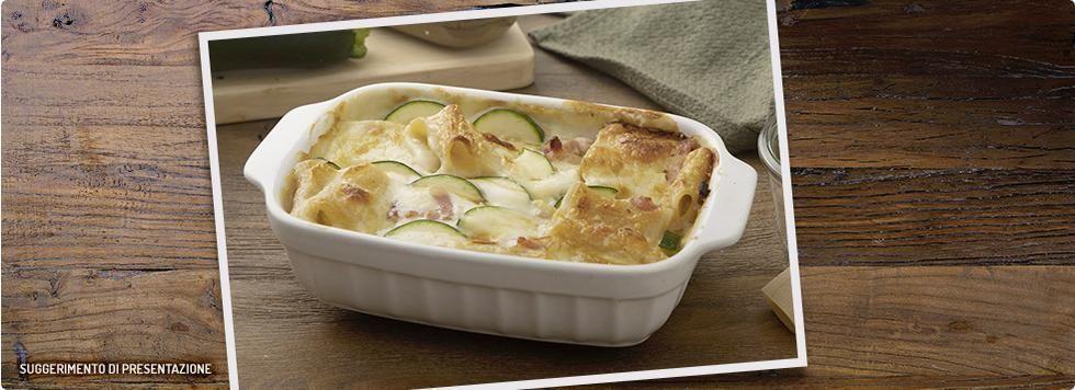 Paccheri al forno con Galbanino zucchine e pancetta