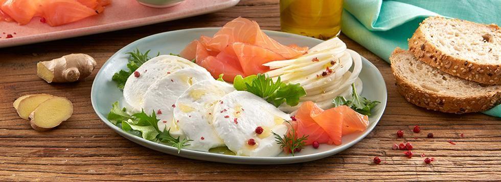 Piatto Unico con Salmone, Finocchi, Zenzero e Mozzarella