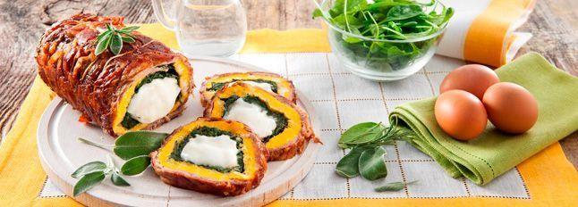 Rotolo di controfiletto con spinaci, frittata e tenero di mozzarella