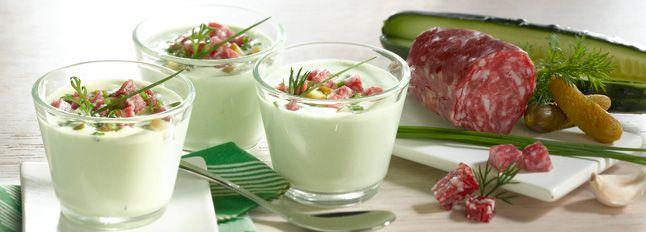 Zuppa di yogurt e cetriolo con Galbanetto