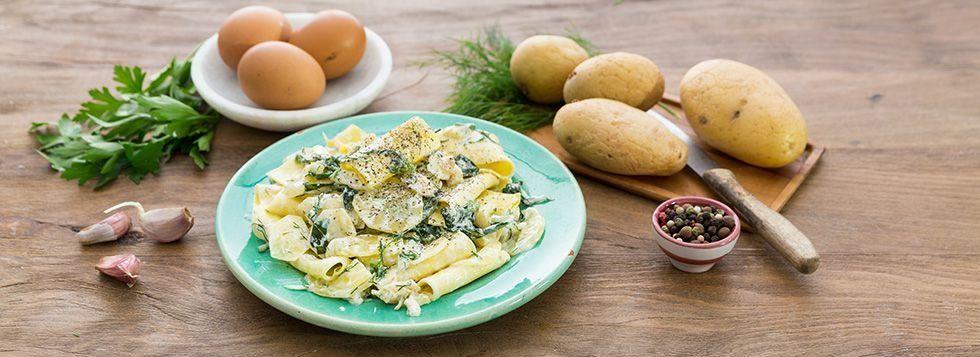 Lasagnette di bietole, baccalà e Certosa