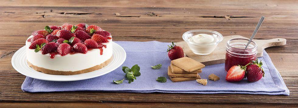 Cheesecake alle fragole e marmellata di fragole