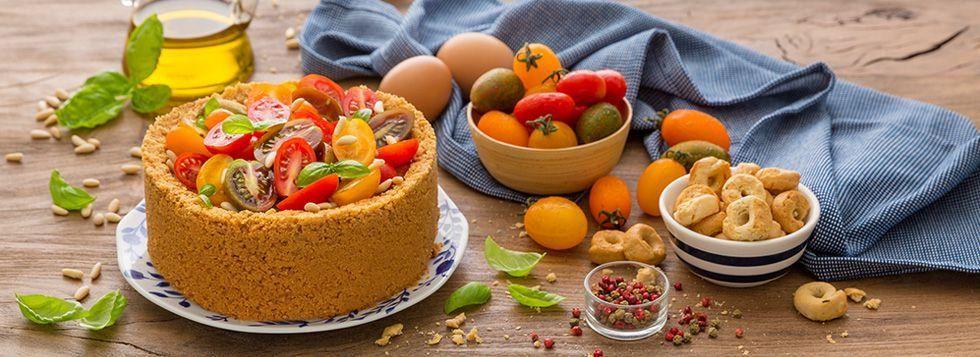 Cheesecake al pesto con pomodorini