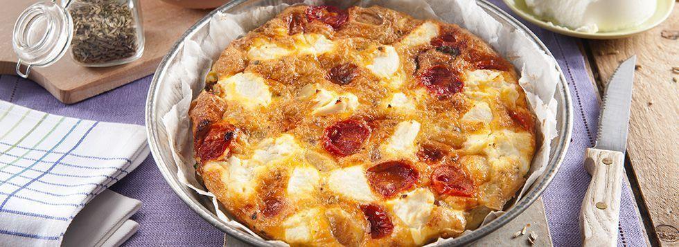 Frittata di patate, pomodorini e ricotta