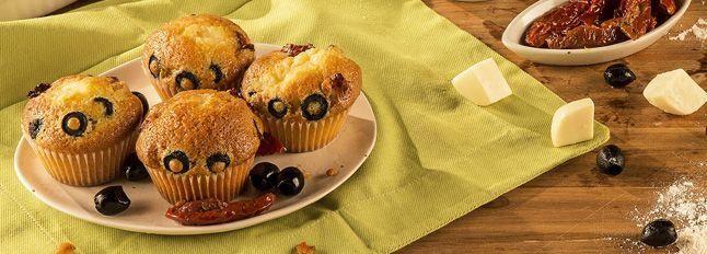 Muffin Galbanino, pomodori secchi e olive nere