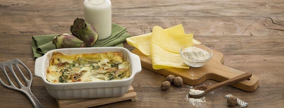 Lasagne di carciofi e mozzarella