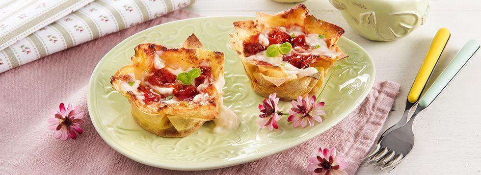 Mini lasagne con mozzarella filante