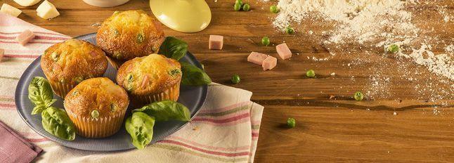 Muffin Galbanino, prosciutto e piselli
