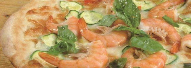Pizza gamberoni e zucchine
