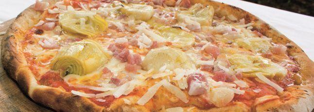 Pizza pancetta e carciofini