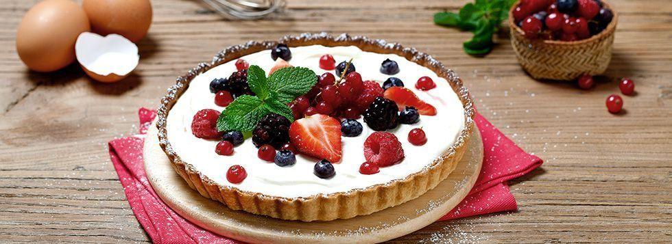 Crostata con crema di mascarpone e frutti rossi