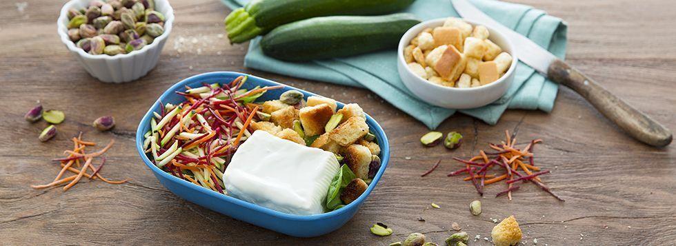 SCHISCETTA FASHION: Certosino, crostini integrali e insalata colorata